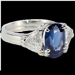 Oval Sapphire 3.21ct ring w 2 /1.40ctw trillion Brilliant Cut Diamonds
