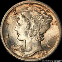 1917 Mercury Dime PCGS MS66FB