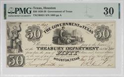 Texas, Houston 1838-39 $50 Government of Texas Note PMG
