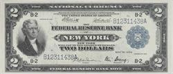 1918 $2 Federal Reserve Note New York  Ungraded  Battle Ship Reverse SN# B12311438