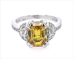 AGL Certified 3.55ct Natural Emerald Cut Yellow Sapphire Ring with 1.3cttw Diamond Accents