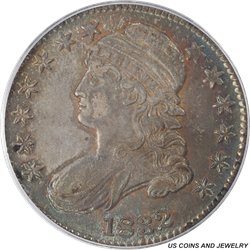 1832  Capped Bust Half Dollar Small Letters With Some Nice Color PCGS AU-58 CAC