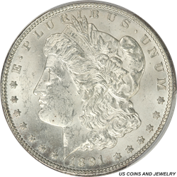 1891-CC Morgan Silver Dollar PCGS MS62 Flat White