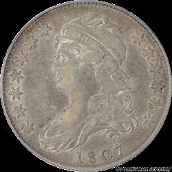 1807 Capped Bust Half Dollar Large Stars 50/20 PCGS XF-45