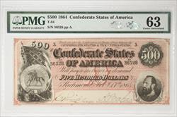 1864 $500 Confederate States of America T-64 SN 36528 PMG CU 63