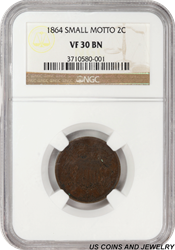 1864  Small Motto Two Cent Piece NGC