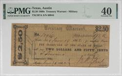 Texas, Austin 1860s $2.50 Treasury Warrant PMG