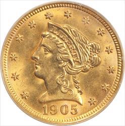 1905 Liberty $2.5 Gold Quarter Eagle PCGS MS 61