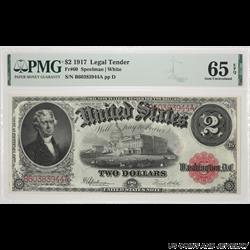 1917 Jefferson $2 Legal Tender Note PMG  GU 65 FR#60 SN# B60383944A