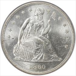 1860-O Seated Liberty Dollar PCGS MS62 Super Frosty White PQ+