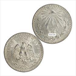 Mexico 1920-1945 Cap and Rays Un Peso .720 Fine Silver  Circulated