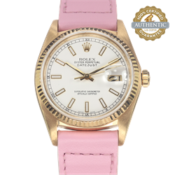 Rolex 36mm Date Just 16018 White Index Dial on Pink Leather Strap (Watch Only)