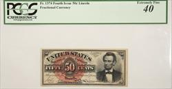 FR# 1374 FOURTH ISSUE 50C LINCOLN FRACTIONAL PCGS EF 40