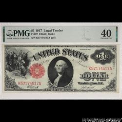 1917 $1 Legal Tender Note PMG EF 40 Fr. 37 - Good Color Nice Type Note