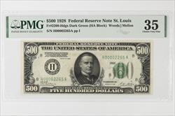 1928 $500  Federal Reserve Note,  St. Louis, Fr. 2200-H, H00002265A  PMG CVF 35