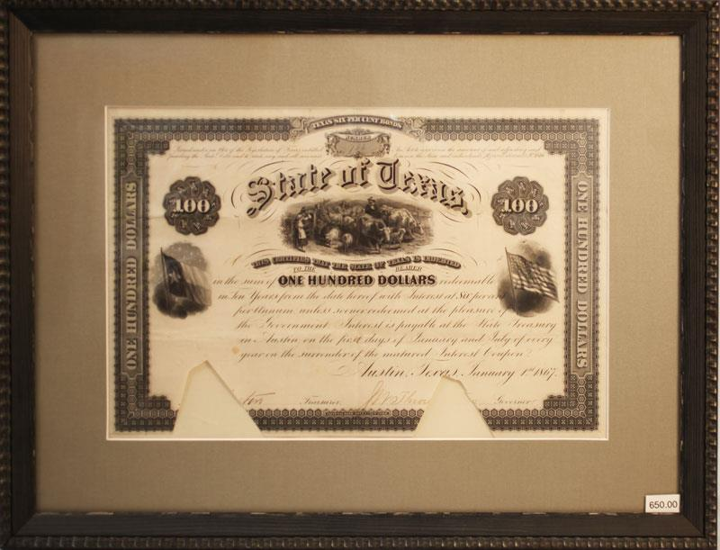 THE STATE OF TEXAS ONE HUNDRED DOLLAR BOND