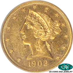 1902 Liberty $5 Gold Half Eagle PCGS and CAC PR58 - Old Green PCGS Holder