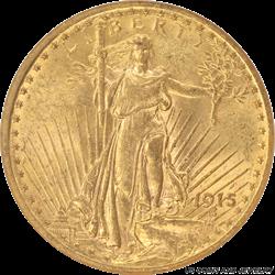 1915 Saint St. Gaudens $20 Gold Double Eagle Brown Label NGC MS 61