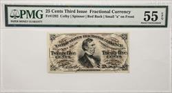 Third Issue 25 Cents Fractional Currency Fr#1292  PMG AU55 EPQ
