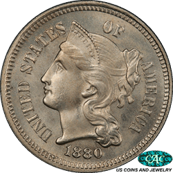 1880 Three Cent Nickel PCGS and CAC MS66