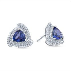 5.6cttw Violet Blue Natural Tanzanite and Diamond Halo Ear Studs
