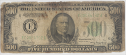 Fr. 2202-F Series 1934 A $500 Federal Reserve Note Raw / Circulated (Very Good)