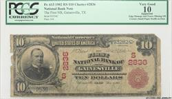 1902 The FNB of Gainesville Texas PCGS #2836 $10 VG10 Apparent  CN#2836 $10