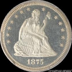 1875 Seated Liberty Quarter Proof PCGS PR66CAM