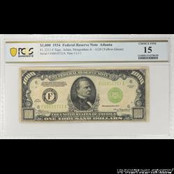 1934 $1000 Federal Reserve Note, Fr. 2211-F, Atlanta, PCGS 15 Choice Fine
