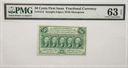 Fractional Currency 50 Cents Fr#1312  PMG MS63 EPQ with Monogram