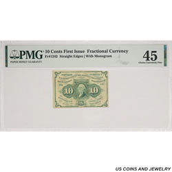 10 cents First Issue Fractional Currency Fr#1242 PMG XF45
