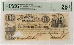 1838-39 $10 Government of Texas, November 1, 1838 S/N 1599 PMG