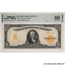 1907 $10 Gold Certificate PMG EF40 Fr. 1171 - Nice Note