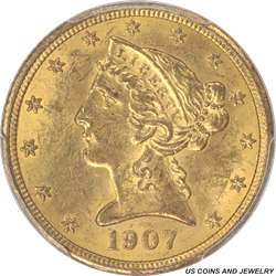 1907 Liberty Head $5 Gold Half Eagle PCGS MS62 Multiple Coins available