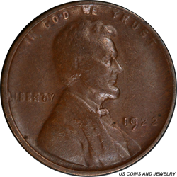 1922-D LINCOLN WHEAT CENT PCGS VF-20