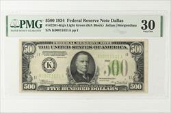 1934 $500 Federal Reserve Note Fr. 2201K, Dallas, SN K00011631A PMG VF 30