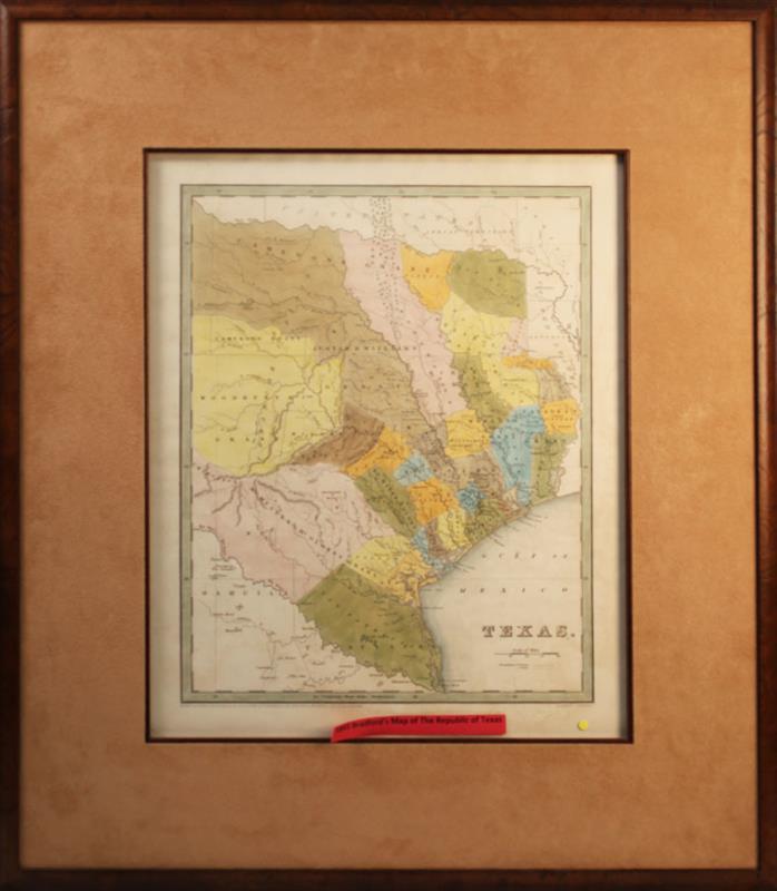1841 BRADFORDS MAP OF THE REPUBLIC OF TEXAS