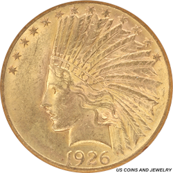 1926 Indian Head $10 Gold Eagle Small White Holder ANACS MS 61 Nice Original Coin