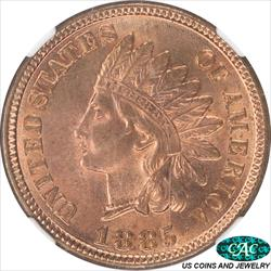 1885 Indian Cent NGC and CAC MS64RD Iridescent Golden Cherry Red