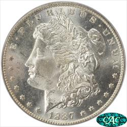 1887-O Morgan Silver Dollar PCGS and CAC MS64 Deep Satin Luster OGH PQ+