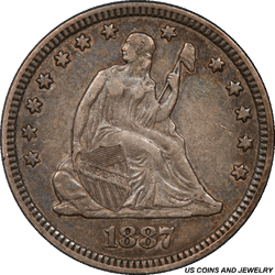 1887 Seated Liberty Quarter PCGS XF45 Low Mintage of Only: 10,000