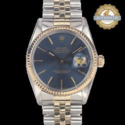 Rolex 36mm Datejust RN/16013 TT SS & 18K YG Jubilee Blue Stick Index Watch Only