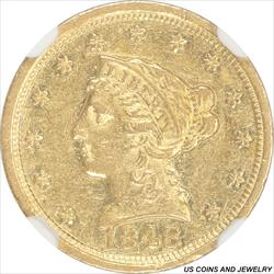 1848-D Liberty $2 1/2 Gold Quarter Eagle NGC AU55 RARE Early Branch Mint Gold