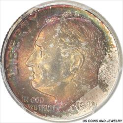 1949-D Roosevelt Dime PCGS MS67FB Colorful Magenta and red color toning