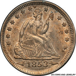 1853 Seated Liberty Quarter with Arrows and Rays PCGS MS62