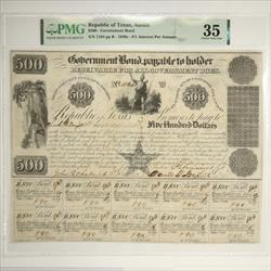 Republic of Texas, Austin $500 Government S/N 1164, Nice Note PMG CVF 35