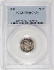 1881 Nickel 3CN PCGS PR 66 CAM