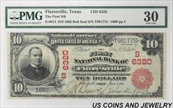 1902 TheFNB of Floresville Texas $10 National Currency CH#6320 $10 PMG VF30