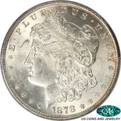 1878 8TF Morgan Silver Dollar PCGS and CAC MS63 - Nice White Coin