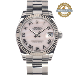 Rolex 31mm DATEJUST 178344 MOP RN Dial 18K WG Fluted Bezel W 2018 card and Box